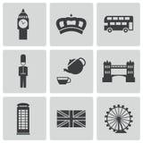 De vector zwarte geplaatste pictogrammen van Londen Royalty-vrije Stock Afbeeldingen
