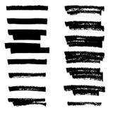 De vector zwarte lijnen van de highlighterborstel De tekening van de hand Stock Afbeelding