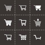 De vector zwarte reeks van het boodschappenwagentjepictogram Stock Fotografie