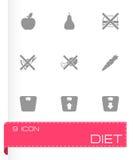 De vector zwarte reeks van het dieetpictogram Stock Afbeeldingen