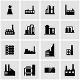 De vector zwarte reeks van het fabriekspictogram Stock Foto