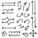 De vector zwarte reeks van 26 overhandigt getrokken pijlen in eps Royalty-vrije Stock Afbeelding