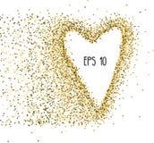 De vectorachtergrond met goud schittert en een vorm van een hart Ontwerp voor huwelijkskaart, valentijnskaart, enz. Royalty-vrije Stock Fotografie