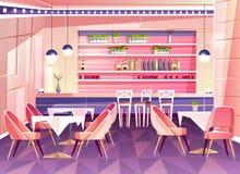 De vectorachtergrond van de beeldverhaalkoffie, cafetariabinnenland, meubilair stock illustratie