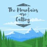 De vectorachtergrond van de beeldverhaalstijl met bergen en bos royalty-vrije illustratie