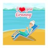 De vectorachtergrond van de grootoudersdag Ik houd van u Stock Fotografie