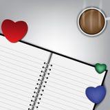 De vectorachtergrond van de hartendecoratie op wit bureau Stock Afbeelding