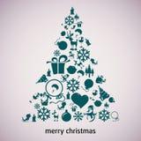 De vectorachtergrond van de kerstboom applique. Royalty-vrije Stock Afbeeldingen