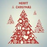 De vectorachtergrond van de kerstboom applique. Stock Foto