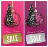 De vectorachtergrond van de Kerstkaart vastgestelde verkoop met bal, streep, vage boom EPS10 Stock Foto
