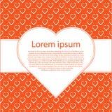 De vectorachtergrond van de valentijnskaartendag Witte harten op sinaasappel en tekstkader Stock Foto