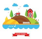 De vectorachtergrond van het landbouwbedrijfplatteland Royalty-vrije Stock Foto's