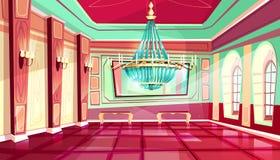 De vectorachtergrond van de het paleisbalzaal van het beeldverhaalkasteel royalty-vrije illustratie