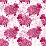 De vectorachtergrond van het schapenpatroon Stock Afbeelding