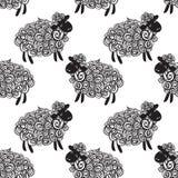 De vectorachtergrond van het schapenpatroon royalty-vrije illustratie