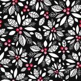 De vectorachtergrond van het de vakantie naadloze patroon van de hulstbes zwarte, witte, rode Groot voor de winter als thema geha royalty-vrije illustratie