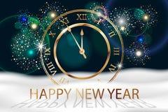 De vectorachtergrond van het Vakantievuurwerk met gouden oude klok Gelukkig nieuw jaar 2018 Sreetings, kleurrijk vuurwerkontwerp  vector illustratie