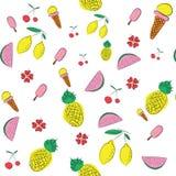 De vectorachtergrond van het de zomerpatroon met vruchten en bloemen elemen Royalty-vrije Stock Foto's