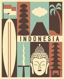 De vectorachtergrond van Indonesië, pictogramreeks royalty-vrije illustratie