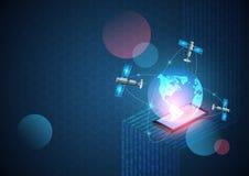De vectorachtergrond van de netwerktechnologie Nieuw generatie mobiel netwerk en Internet Digitale gegevens als verbonden cijfers royalty-vrije illustratie