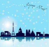 De vectorachtergrond van Parijs van Kerstmis Royalty-vrije Stock Afbeeldingen