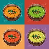 De vectorachtergrond van de roomsoep Hand getrokken kom soep met kruiden Pompoen, tomaat, broccolisoep Het plantaardige patroon v vector illustratie