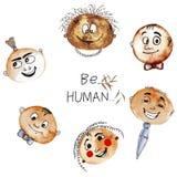 De vectoraffiche menselijk is met leuke gezichten en teksten stock illustratie