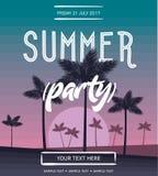 De vectoraffiche van de de zomerpartij Stock Foto
