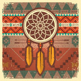 De vectoraffiche van de droomvanger met etnisch ornament Stock Afbeelding