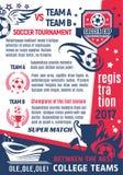 De vectoraffiche van het de universiteitsspel van het voetbalvoetbal Stock Foto's