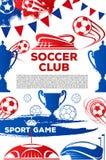 De vectoraffiche van het de voetbalspel van de voetbalclub Stock Afbeeldingen