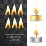 De vectoranimatie van de kaarsvlam op transparante achtergrond Brand lichteffect Royalty-vrije Stock Fotografie