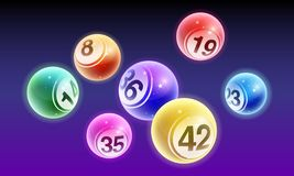 De vectorballen van het de loterijaantal van kristalbingo geplaatst die op nachtachtergrond worden geïsoleerd royalty-vrije illustratie