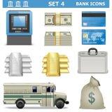 De vectorbankpictogrammen plaatsen 4 Royalty-vrije Stock Afbeeldingen