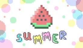 De vectorbanner van de beetje pixelart zomer met watermeloen stock illustratie