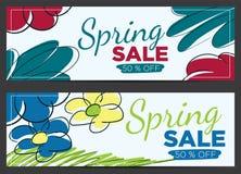 De vectorbanner van de de lenteverkoop Stock Foto