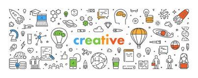 De vectorbanner van het lijnweb voor creatief Stock Afbeeldingen