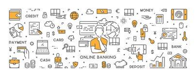 De vectorbanner van het lijnweb voor online bankwezen Stock Afbeelding
