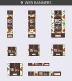 De vectorbanners van het reclameweb met koffie Stock Fotografie