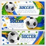 De vectorbanners van het het voetbalteam van de voetbalkop vector illustratie