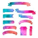 De vectorbanners van waterverf kleurrijke linten Royalty-vrije Stock Fotografie