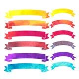 De vectorbanners van waterverf kleurrijke linten Stock Foto's