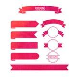De vectorbanners van waterverflinten met de cirkel van de wijnvlek in rood Stock Foto's