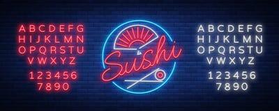 De vectorbar van het embleemsushi van het neonteken, Aziatische fast-food straat in een bar of winkel, sushi, Onigiri met zalmbro Royalty-vrije Illustratie