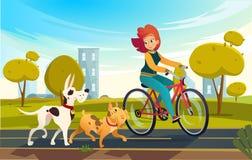 De vectorbeeldverhaalillustratie van de jonge berijdende fiets van de roodharigevrouw bij een park of een platteland en een hond  vector illustratie