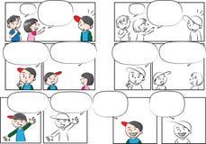 De vectorbespreking van tekeningsjonge geitjes met toespraakbel stock illustratie