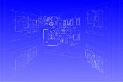 De vectorblauwdruk van het plan stock illustratie