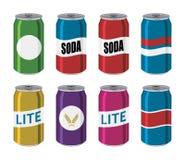De vectorblikken van het dranktin, aluminium kleurrijke containers vector illustratie