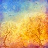 De vectorbomen van de olieverfschilderijherfst, vliegende vogels Stock Afbeeldingen