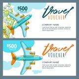 De vectorbon van de giftreis Hoogste meningshand getrokken vliegend vliegtuig Coupon, certificaat, vlieger, lay-out stock illustratie